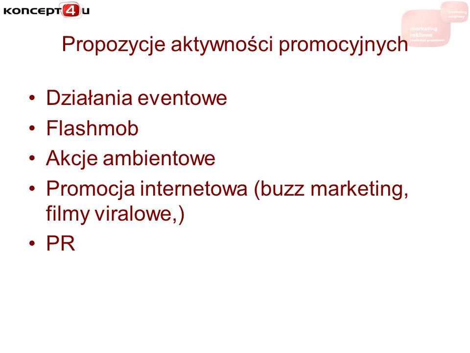 Propozycje aktywności promocyjnych Działania eventowe Flashmob Akcje ambientowe Promocja internetowa (buzz marketing, filmy viralowe,) PR