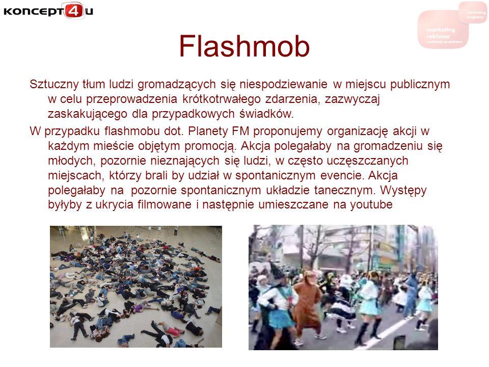 Flashmob Sztuczny tłum ludzi gromadzących się niespodziewanie w miejscu publicznym w celu przeprowadzenia krótkotrwałego zdarzenia, zazwyczaj zaskakuj