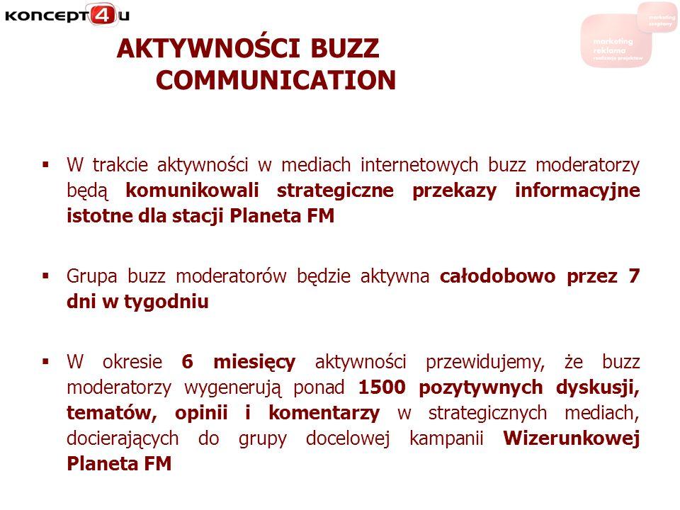 AKTYWNOŚCI BUZZ COMMUNICATION W trakcie aktywności w mediach internetowych buzz moderatorzy będą komunikowali strategiczne przekazy informacyjne istot