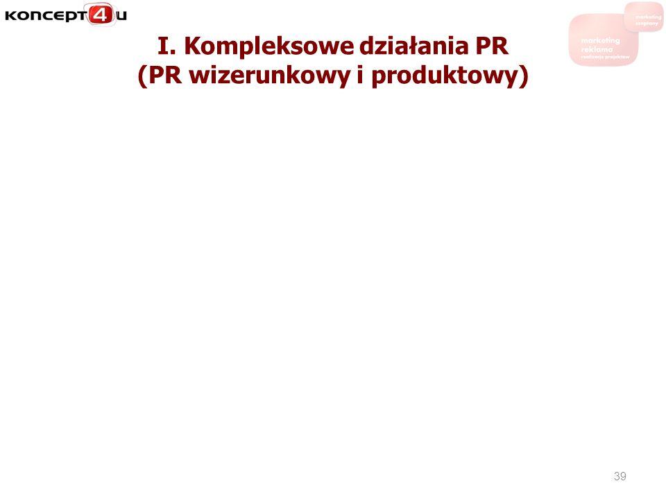 I. Kompleksowe działania PR (PR wizerunkowy i produktowy) 39