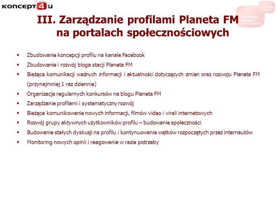 III. Zarządzanie profilami Planeta FM na portalach społecznościowych Zbudowanie koncepcji profilu na kanale Facebook Zbudowanie i rozwój bloga stacji