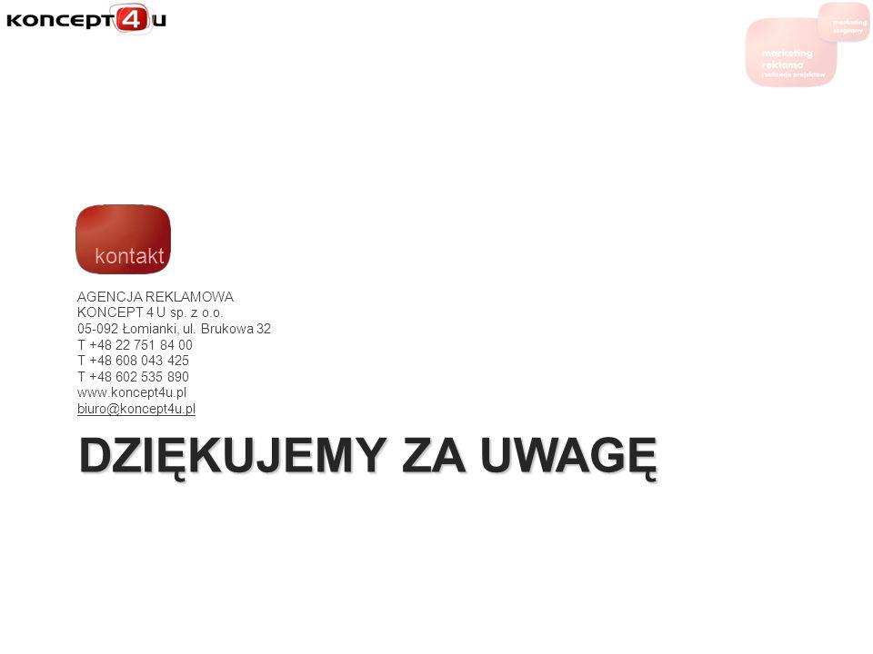 DZIĘKUJEMY ZA UWAGĘ AGENCJA REKLAMOWA KONCEPT 4 U sp. z o.o. 05-092 Łomianki, ul. Brukowa 32 T +48 22 751 84 00 T +48 608 043 425 T +48 602 535 890 ww