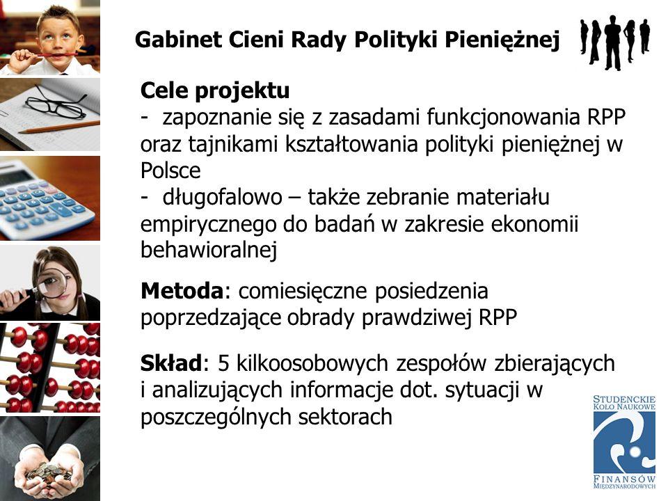 Gabinet Cieni Rady Polityki Pieniężnej Cele projektu - zapoznanie się z zasadami funkcjonowania RPP oraz tajnikami kształtowania polityki pieniężnej w