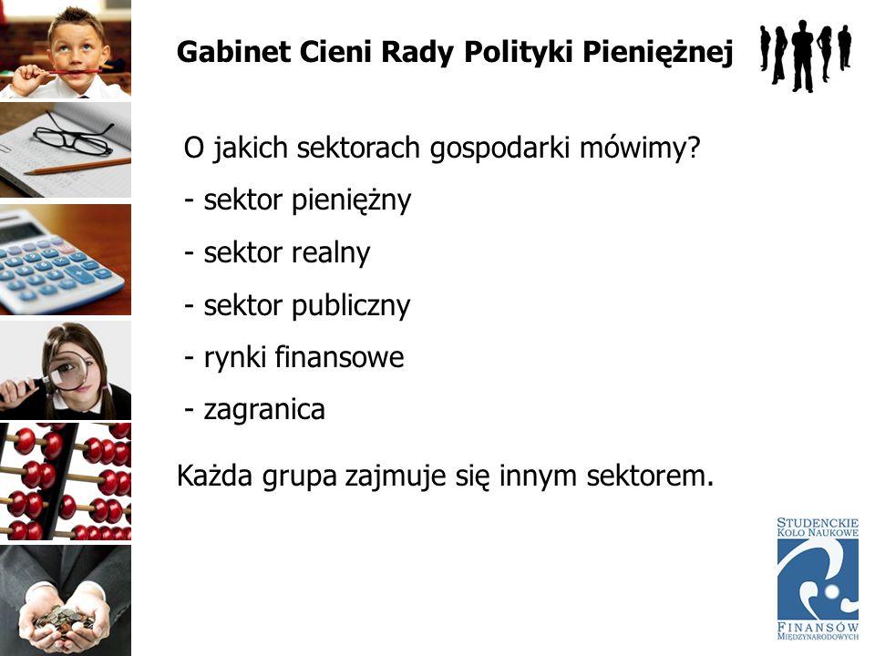 Gabinet Cieni Rady Polityki Pieniężnej O jakich sektorach gospodarki mówimy? - sektor pieniężny - sektor realny - sektor publiczny - rynki finansowe -