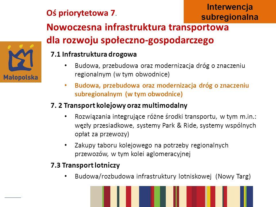 Oś priorytetowa 7. Nowoczesna infrastruktura transportowa dla rozwoju społeczno-gospodarczego 7.1 Infrastruktura drogowa Budowa, przebudowa oraz moder