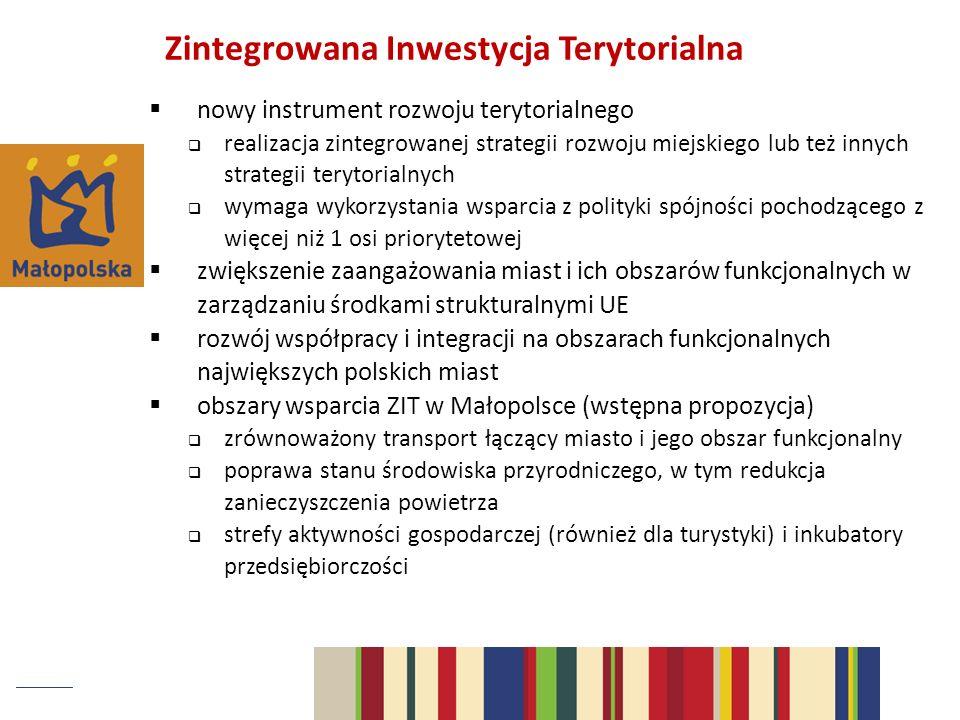 Zintegrowana Inwestycja Terytorialna nowy instrument rozwoju terytorialnego realizacja zintegrowanej strategii rozwoju miejskiego lub też innych strat