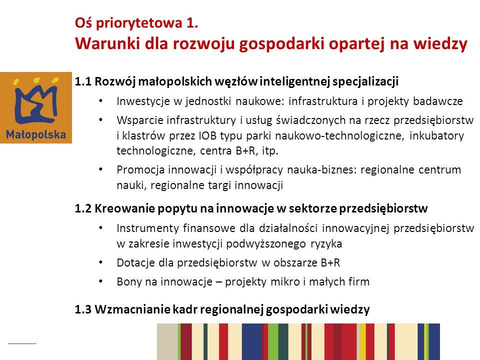 Oś priorytetowa 1. Warunki dla rozwoju gospodarki opartej na wiedzy 1.1 Rozwój małopolskich węzłów inteligentnej specjalizacji Inwestycje w jednostki