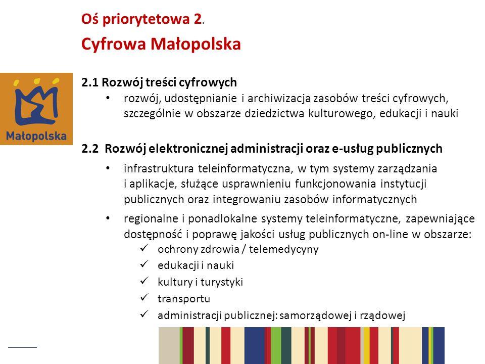 2.1 Rozwój treści cyfrowych rozwój, udostępnianie i archiwizacja zasobów treści cyfrowych, szczególnie w obszarze dziedzictwa kulturowego, edukacji i