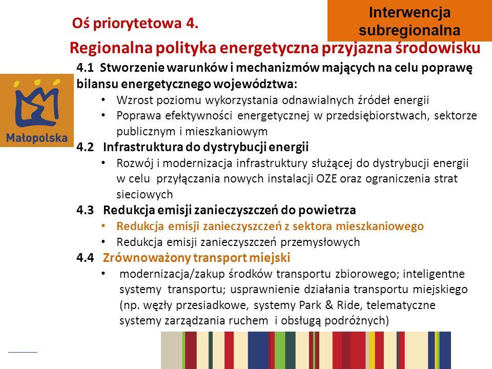 4.1 Stworzenie warunków i mechanizmów mających na celu poprawę bilansu energetycznego województwa: Wzrost poziomu wykorzystania odnawialnych źródeł en