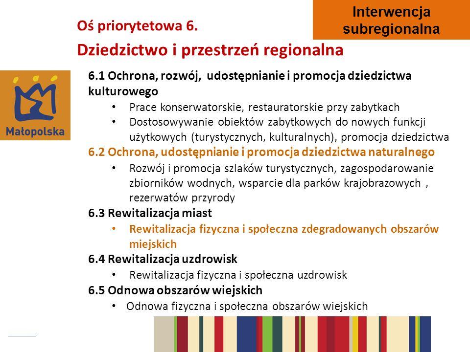 6.1 Ochrona, rozwój, udostępnianie i promocja dziedzictwa kulturowego Prace konserwatorskie, restauratorskie przy zabytkach Dostosowywanie obiektów za