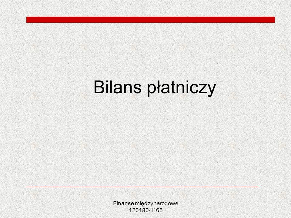Finanse międzynarodowe 120180-1165 Równowaga bilansu płatniczego Z definicji wynika: Saldo obrotów bieżących+ saldo obrotów kapitałowych + saldo obrotów finansowych=0 W praktyce- błędy i opuszczenia
