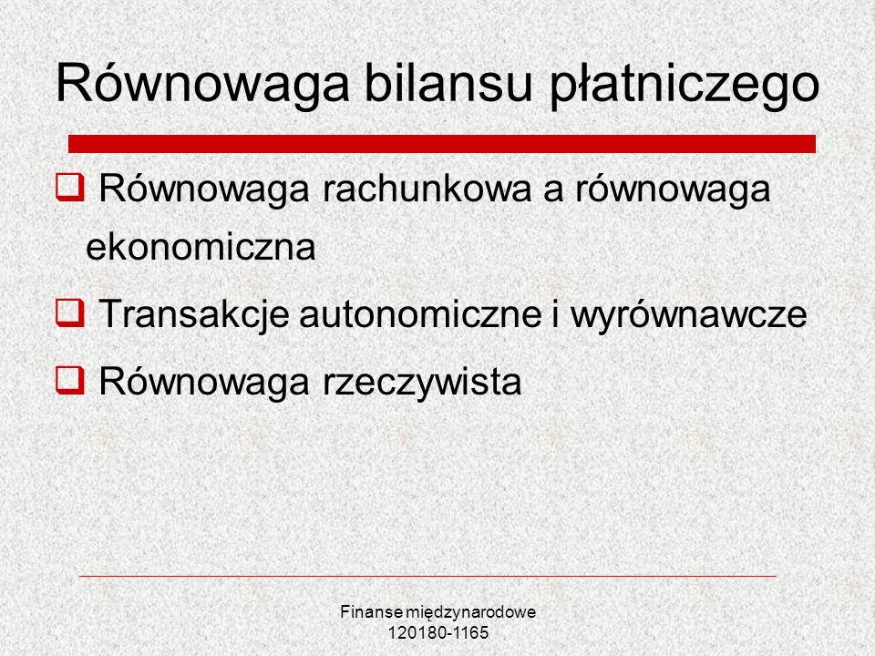 Finanse międzynarodowe 120180-1165 Równowaga bilansu płatniczego Równowaga rachunkowa a równowaga ekonomiczna Transakcje autonomiczne i wyrównawcze Ró