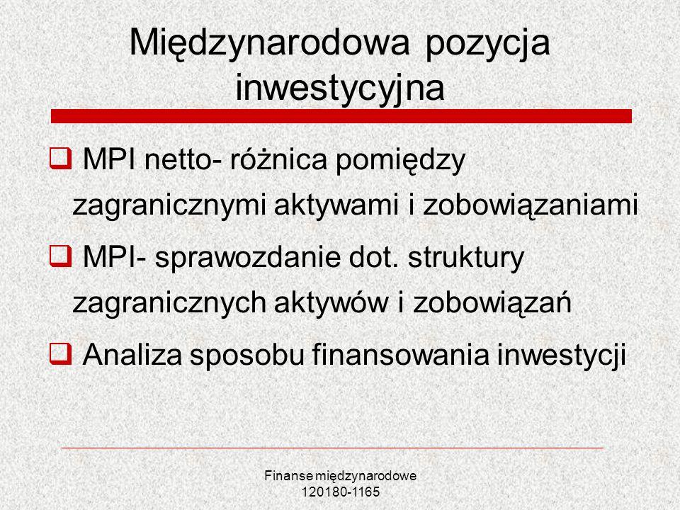 Finanse międzynarodowe 120180-1165 Międzynarodowa pozycja inwestycyjna MPI netto- różnica pomiędzy zagranicznymi aktywami i zobowiązaniami MPI- sprawo