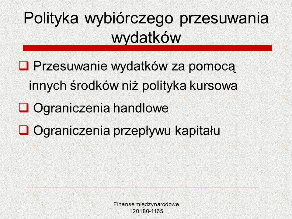 Finanse międzynarodowe 120180-1165 Polityka wybiórczego przesuwania wydatków Przesuwanie wydatków za pomocą innych środków niż polityka kursowa Ograni
