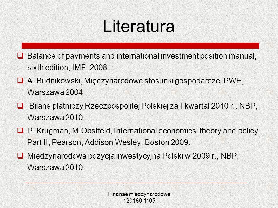 Finanse międzynarodowe 120180-1165 Literatura Balance of payments and international investment position manual, sixth edition, IMF, 2008 A. Budnikowsk