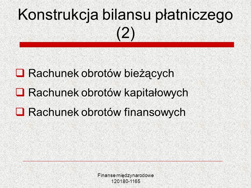 Finanse międzynarodowe 120180-1165 Konstrukcja bilansu płatniczego (2) Rachunek obrotów bieżących Rachunek obrotów kapitałowych Rachunek obrotów finan