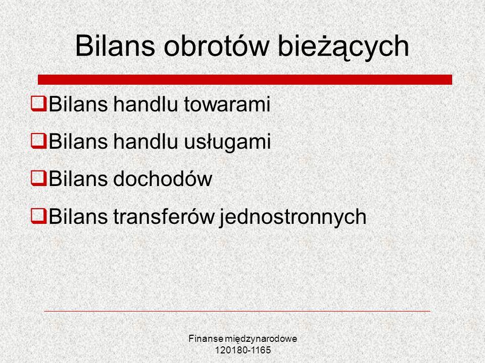 Finanse międzynarodowe 120180-1165 Bilans obrotów bieżących Bilans handlu towarami Bilans handlu usługami Bilans dochodów Bilans transferów jednostron