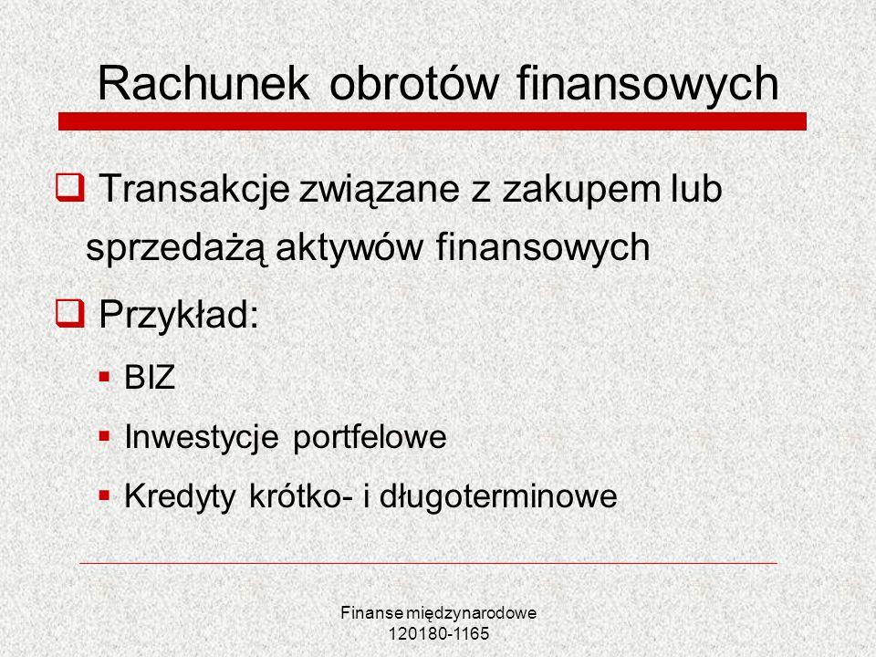Finanse międzynarodowe 120180-1165 Rachunek obrotów finansowych Transakcje związane z zakupem lub sprzedażą aktywów finansowych Przykład: BIZ Inwestyc