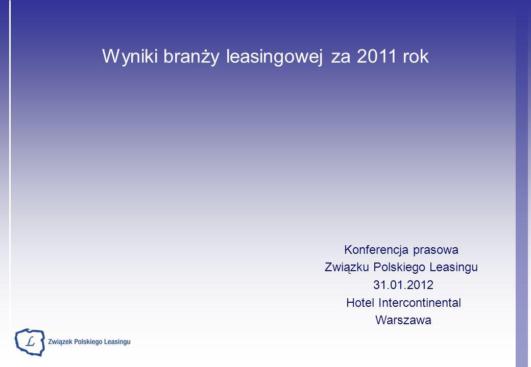 Wyniki branży leasingowej za 2011 rok Konferencja prasowa Związku Polskiego Leasingu 31.01.2012 Hotel Intercontinental Warszawa