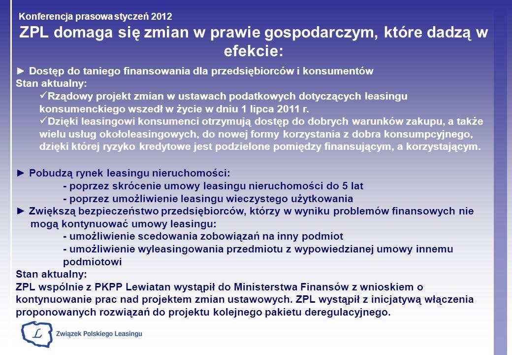 Konferencja prasowa styczeń 2012 ZPL domaga się zmian w prawie gospodarczym, które dadzą w efekcie: Dostęp do taniego finansowania dla przedsiębiorców
