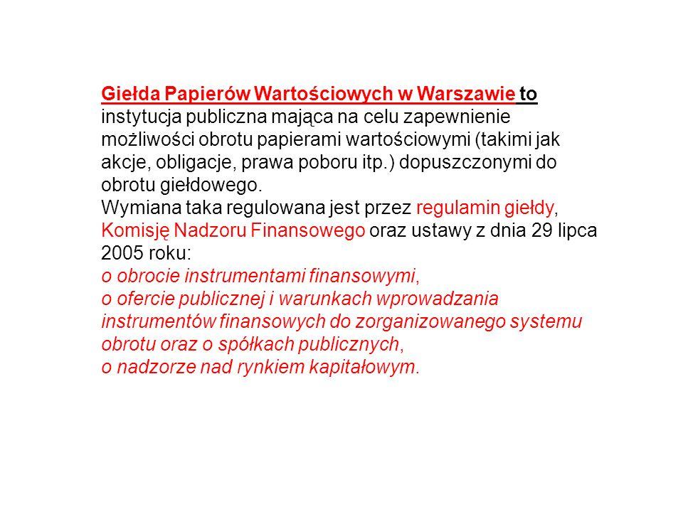 Giełda Papierów Wartościowych w Warszawie to instytucja publiczna mająca na celu zapewnienie możliwości obrotu papierami wartościowymi (takimi jak akc
