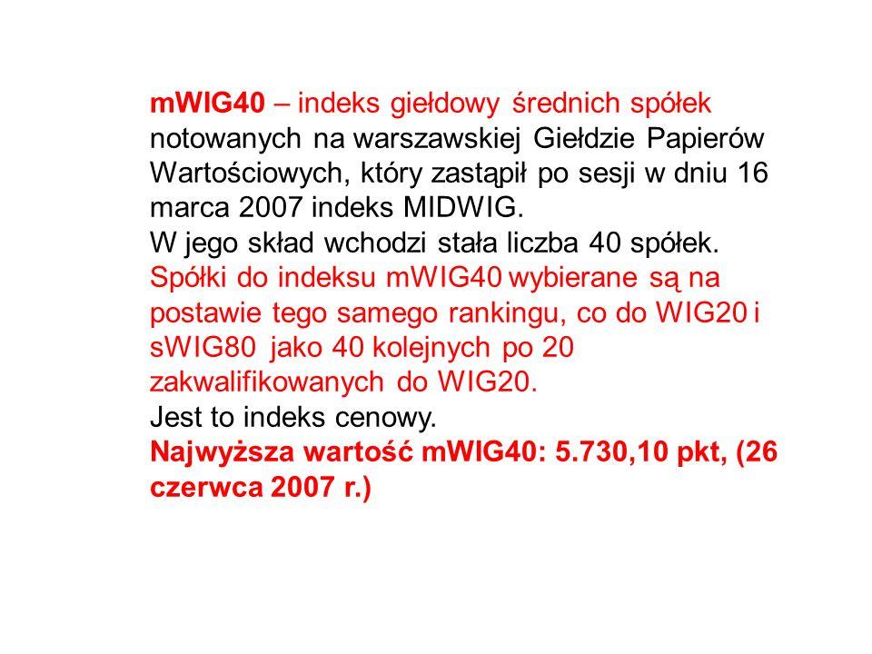 mWIG40 – indeks giełdowy średnich spółek notowanych na warszawskiej Giełdzie Papierów Wartościowych, który zastąpił po sesji w dniu 16 marca 2007 inde