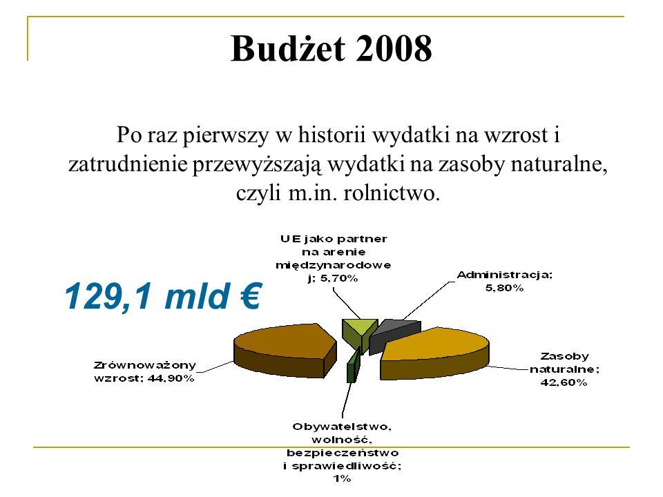 Budżet 2008 Po raz pierwszy w historii wydatki na wzrost i zatrudnienie przewyższają wydatki na zasoby naturalne, czyli m.in.