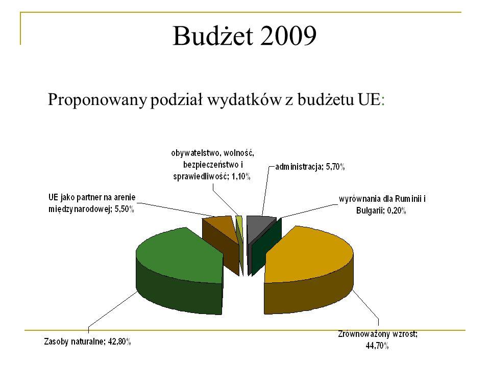 Budżet 2009 Proponowany podział wydatków z budżetu UE: