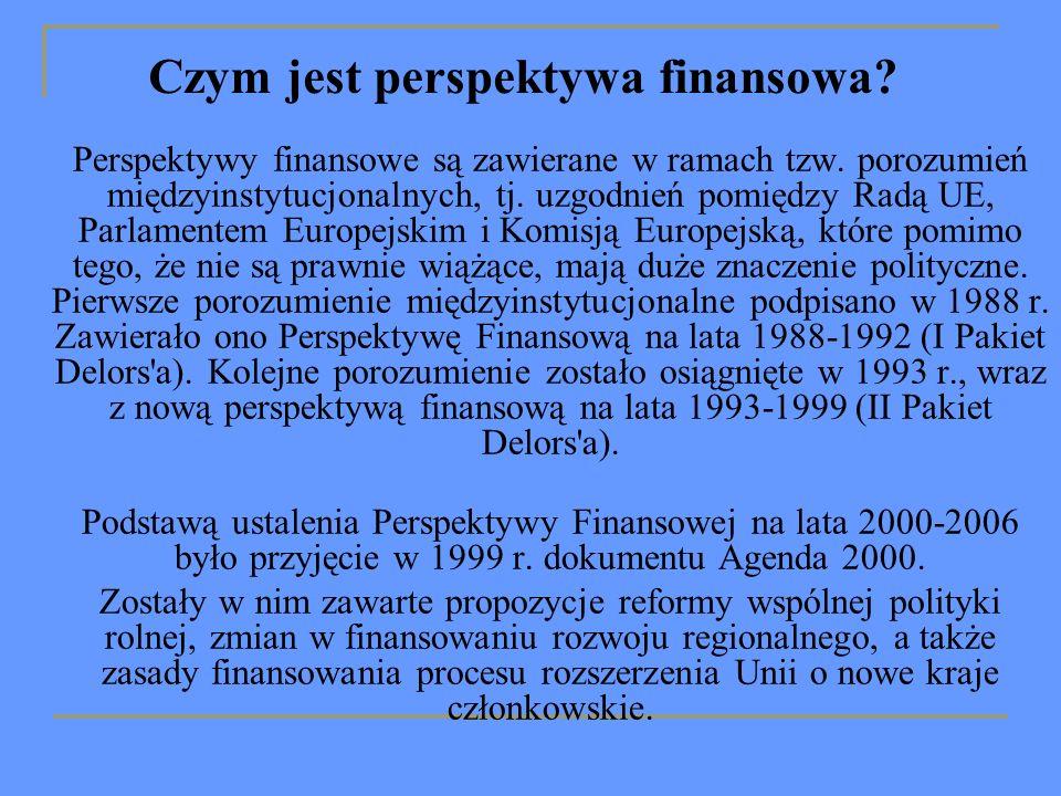 Czym jest perspektywa finansowa. Perspektywy finansowe są zawierane w ramach tzw.