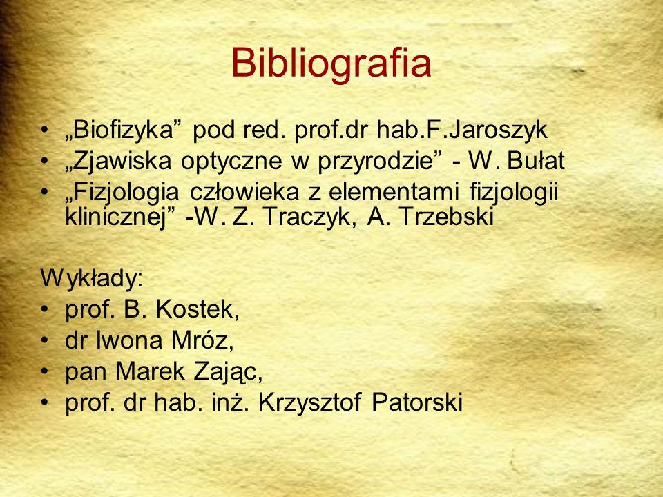 Bibliografia Biofizyka pod red. prof.dr hab.F.Jaroszyk Zjawiska optyczne w przyrodzie - W. Bułat Fizjologia człowieka z elementami fizjologii kliniczn