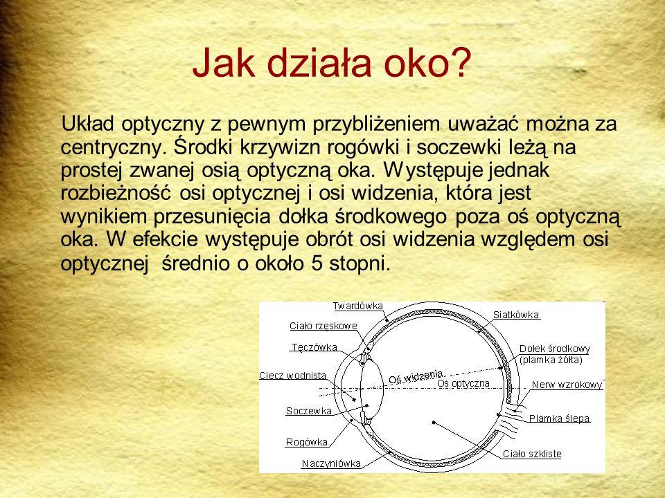 Jak działa oko? Układ optyczny z pewnym przybliżeniem uważać można za centryczny. Środki krzywizn rogówki i soczewki leżą na prostej zwanej osią optyc