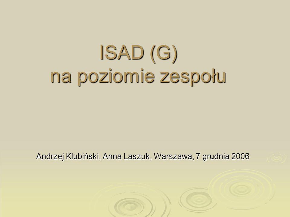 ISAD (G) na poziomie zespołu Andrzej Klubiński, Anna Laszuk, Warszawa, 7 grudnia 2006