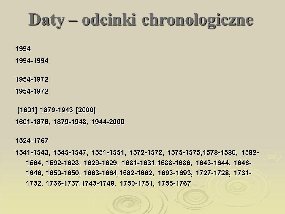 Daty – odcinki chronologiczne 19941994-19941954-19721954-1972 [1601] 1879-1943 [2000] [1601] 1879-1943 [2000] 1601-1878, 1879-1943, 1944-2000 1524-176