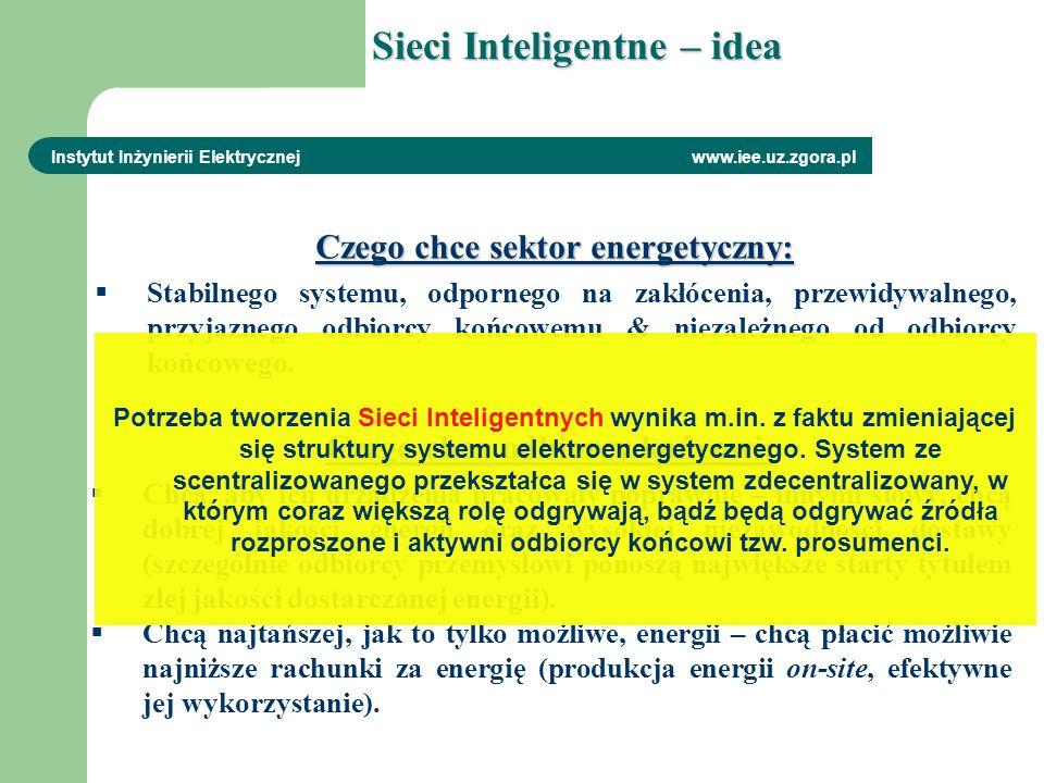 Sieci Inteligentne – idea Instytut Inżynierii Elektrycznej www.iee.uz.zgora.pl Czego chce sektor energetyczny: Stabilnego systemu, odpornego na zakłóc