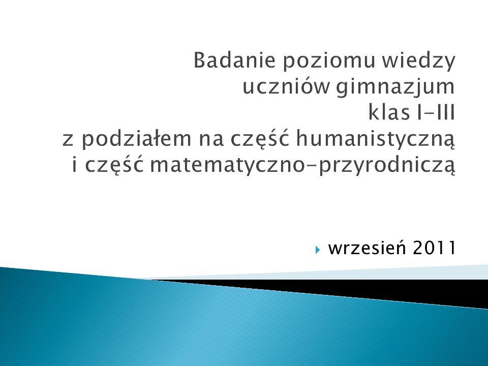 Badanie poziomu wiedzy uczniów gimnazjum klas I-III z podziałem na część humanistyczną i część matematyczno-przyrodniczą wrzesień 2011