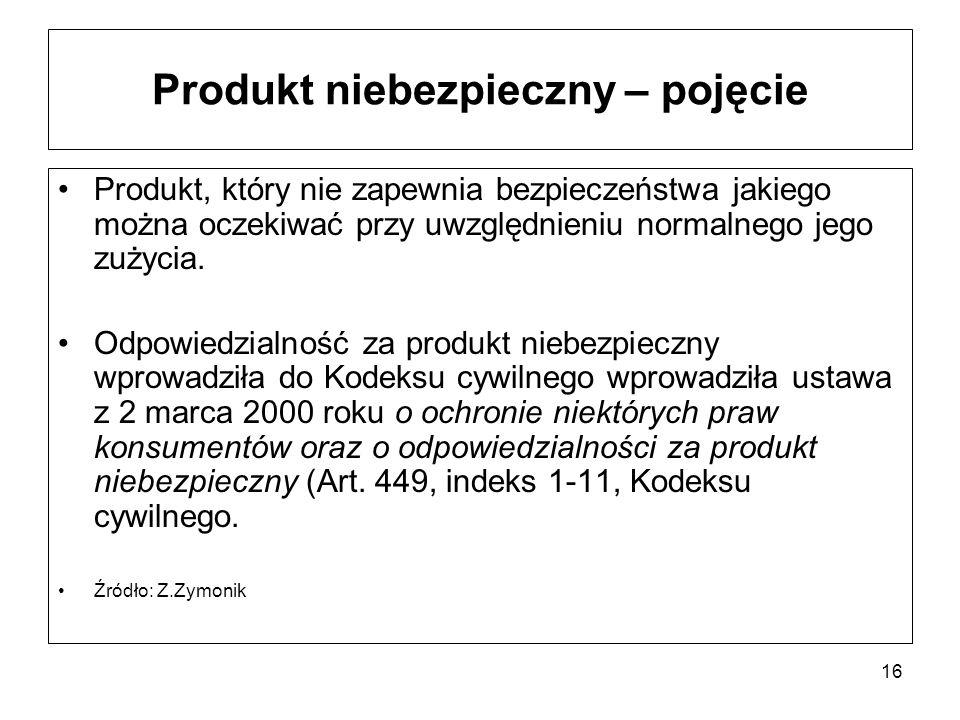 16 Produkt niebezpieczny – pojęcie Produkt, który nie zapewnia bezpieczeństwa jakiego można oczekiwać przy uwzględnieniu normalnego jego zużycia. Odpo