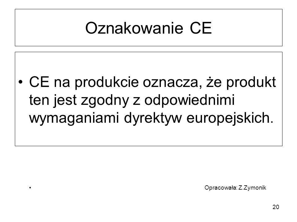 20 Oznakowanie CE CE na produkcie oznacza, że produkt ten jest zgodny z odpowiednimi wymaganiami dyrektyw europejskich. Opracowała: Z.Zymonik