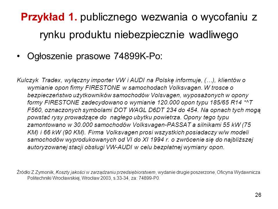 26 Przykład 1. publicznego wezwania o wycofaniu z rynku produktu niebezpiecznie wadliwego Ogłoszenie prasowe 74899K-Po: Kulczyk Tradex, wyłączny impor