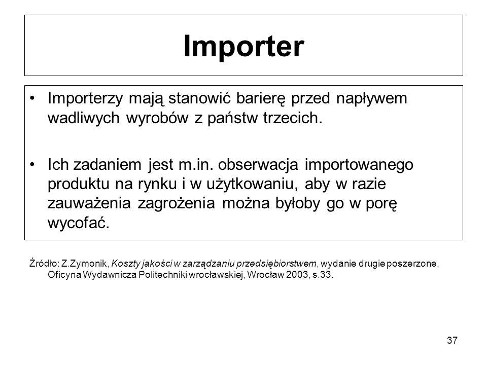 37 Importer Importerzy mają stanowić barierę przed napływem wadliwych wyrobów z państw trzecich. Ich zadaniem jest m.in. obserwacja importowanego prod