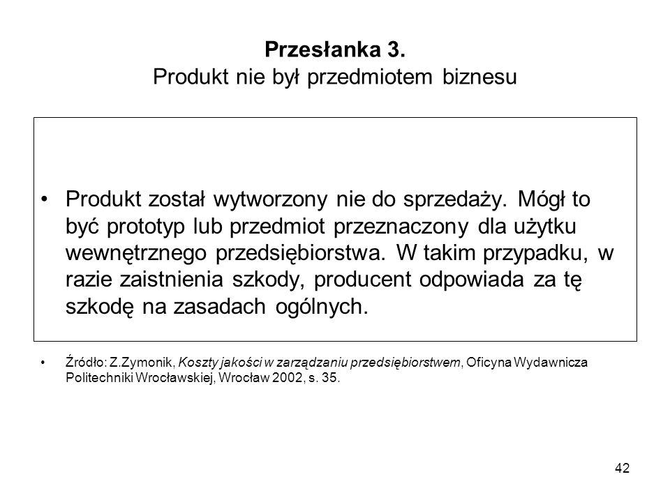 42 Przesłanka 3. Produkt nie był przedmiotem biznesu Produkt został wytworzony nie do sprzedaży. Mógł to być prototyp lub przedmiot przeznaczony dla u