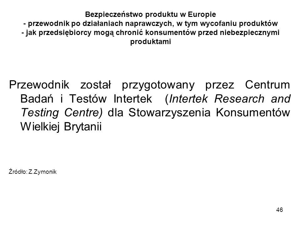 46 Bezpieczeństwo produktu w Europie - przewodnik po działaniach naprawczych, w tym wycofaniu produktów - jak przedsiębiorcy mogą chronić konsumentów