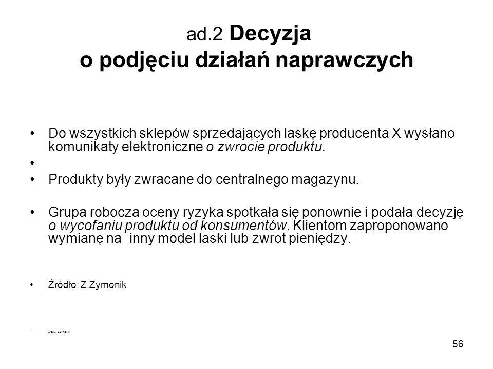 56 ad.2 Decyzja o podjęciu działań naprawczych Do wszystkich sklepów sprzedających laskę producenta X wysłano komunikaty elektroniczne o zwrocie produ