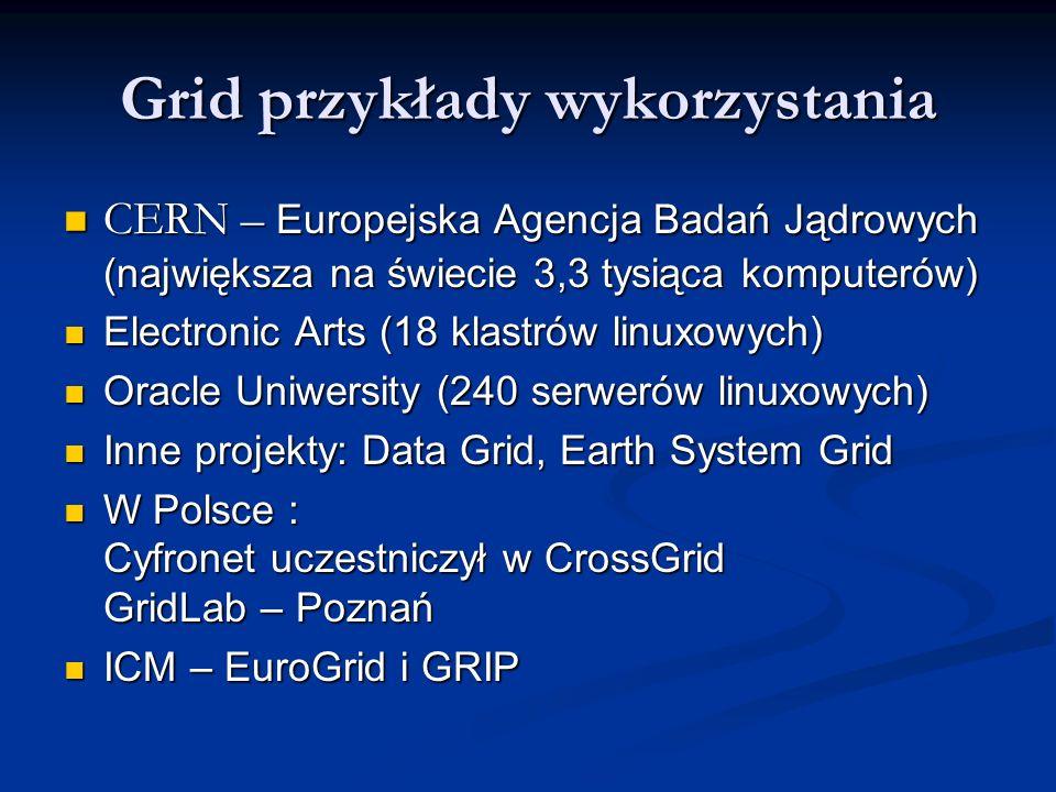 Grid przykłady wykorzystania CERN – Europejska Agencja Badań Jądrowych (największa na świecie 3,3 tysiąca komputerów) CERN – Europejska Agencja Badań Jądrowych (największa na świecie 3,3 tysiąca komputerów) Electronic Arts (18 klastrów linuxowych) Electronic Arts (18 klastrów linuxowych) Oracle Uniwersity (240 serwerów linuxowych) Oracle Uniwersity (240 serwerów linuxowych) Inne projekty: Data Grid, Earth System Grid Inne projekty: Data Grid, Earth System Grid W Polsce : Cyfronet uczestniczył w CrossGrid GridLab – Poznań W Polsce : Cyfronet uczestniczył w CrossGrid GridLab – Poznań ICM – EuroGrid i GRIP ICM – EuroGrid i GRIP