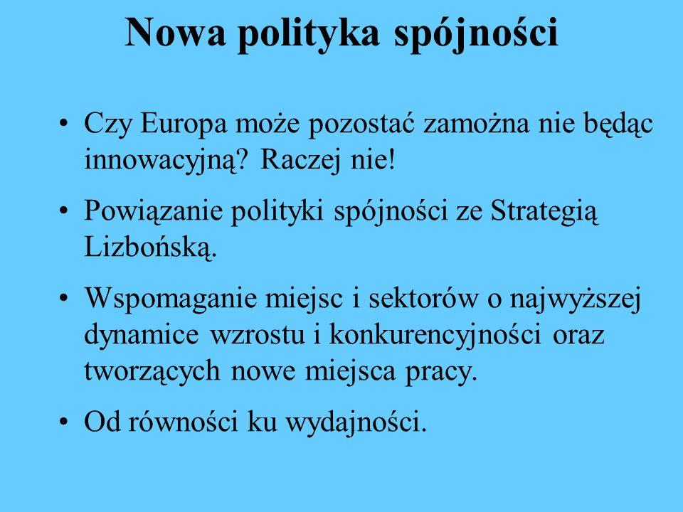 Nowa polityka spójności Czy Europa może pozostać zamożna nie będąc innowacyjną? Raczej nie! Powiązanie polityki spójności ze Strategią Lizbońską. Wspo