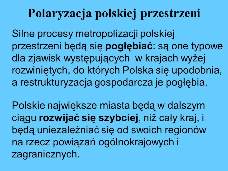 Polaryzacja polskiej przestrzeni Silne procesy metropolizacji polskiej przestrzeni będą się pogłębiać: są one typowe dla zjawisk występujących w kraja