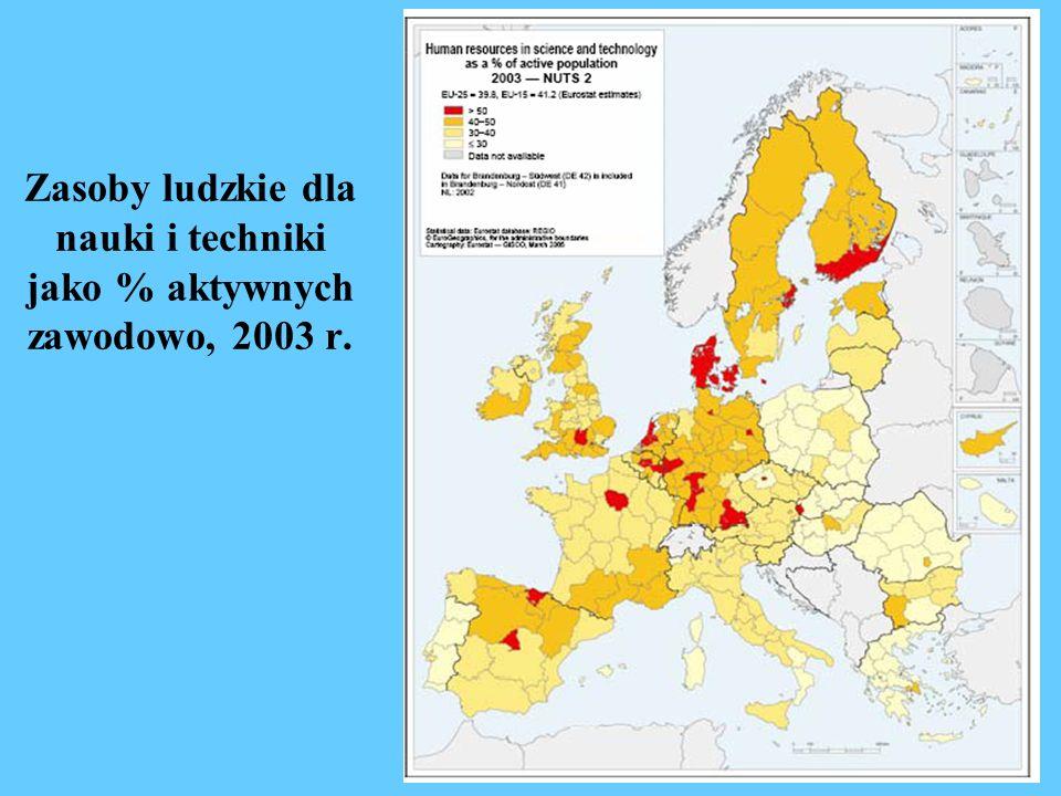 Wydatki na B+R jako % PKB, 2002 r.