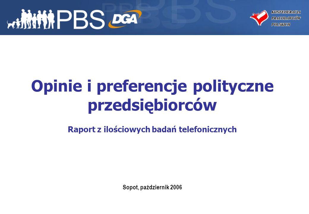 2 Projekt: Opinie i preferencje polityczne przedsiębiorców Zleceniodawca: Konfederacja Pracodawców Polskich Wykonawca: PBS DGA Sp.