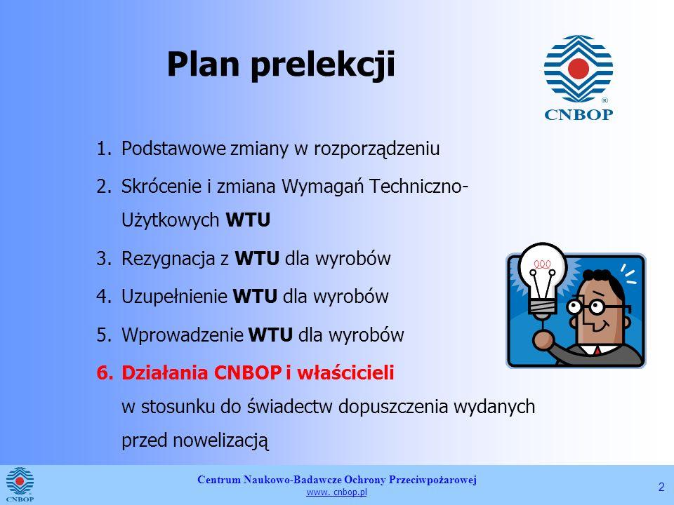 Centrum Naukowo-Badawcze Ochrony Przeciwpożarowej www. cnbop.pl 2 1.Podstawowe zmiany w rozporządzeniu 2.Skrócenie i zmiana Wymagań Techniczno- Użytko