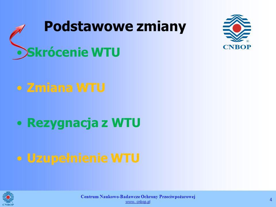 Centrum Naukowo-Badawcze Ochrony Przeciwpożarowej www. cnbop.pl 4 Podstawowe zmiany Skrócenie WTU Zmiana WTU Rezygnacja z WTU Uzupełnienie WTU