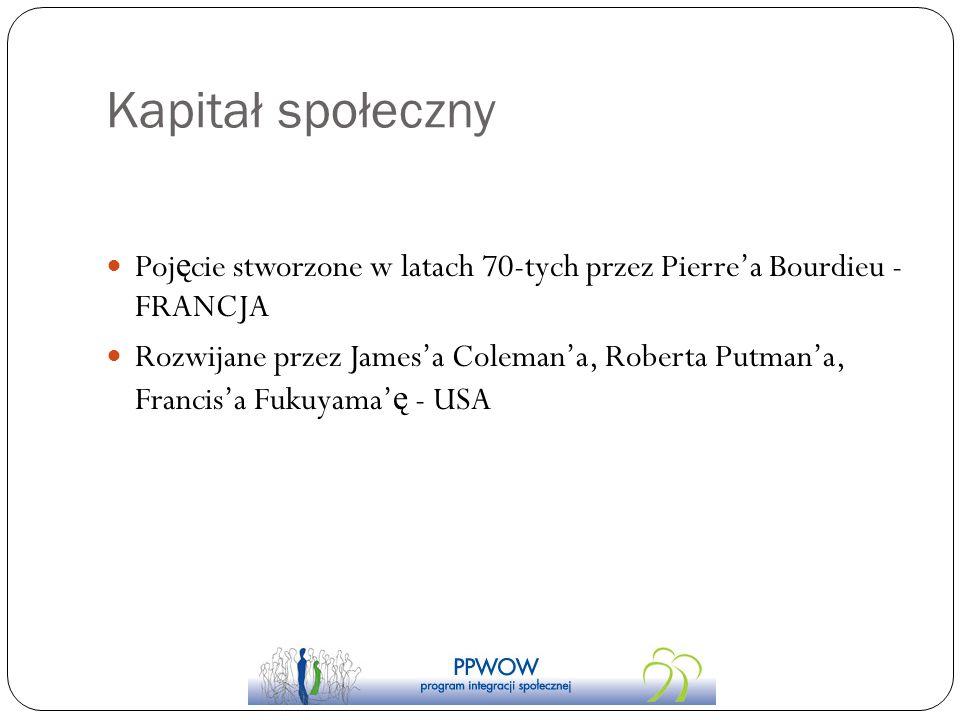 Kapitał społeczny Poj ę cie stworzone w latach 70-tych przez Pierrea Bourdieu - FRANCJA Rozwijane przez Jamesa Colemana, Roberta Putmana, Francisa Fuk
